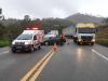 Acidente na BR-381, em João Monlevade, deixa um morto e rodovia interditada (Foto: Reprodução/PRF)